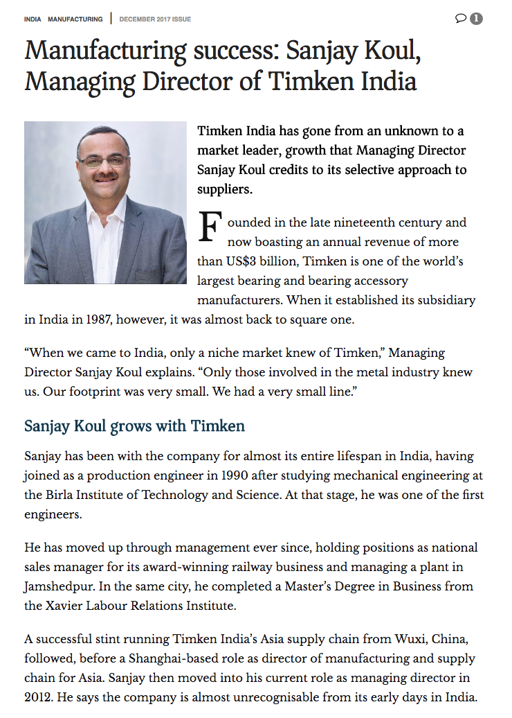 Profile image of Sanjay Koul, MD Timken India