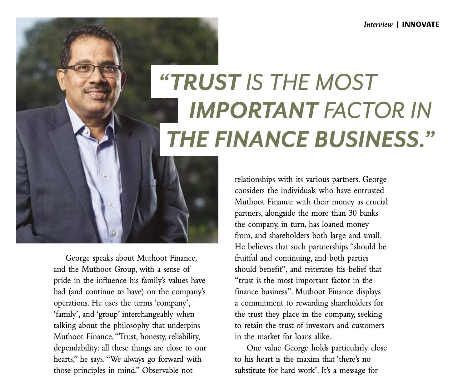 George Alexander, Managing Director of Muthoot Finance